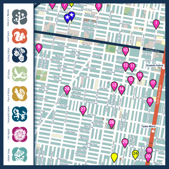 South Philly Garden Tour Map and Icon Set